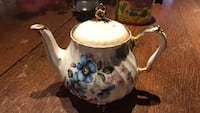 White and blue floral ceramic English teapot  Derwood, 20855