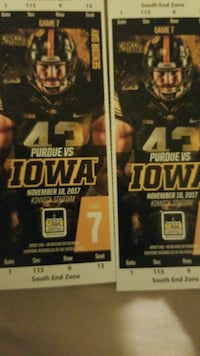 2 tix  Iowa vs. Purdue  West Des Moines, 50266