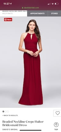 David's bridal: beaded neckline crepe halter bridesmaids dress  Cambridge, N1T 2A6