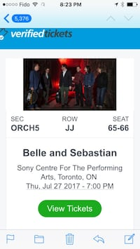Bell and Sebastian concert tickets  Toronto, M6J