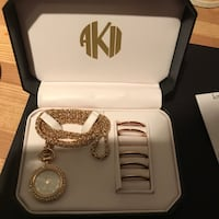 Anne Klein Clock Necklace Set