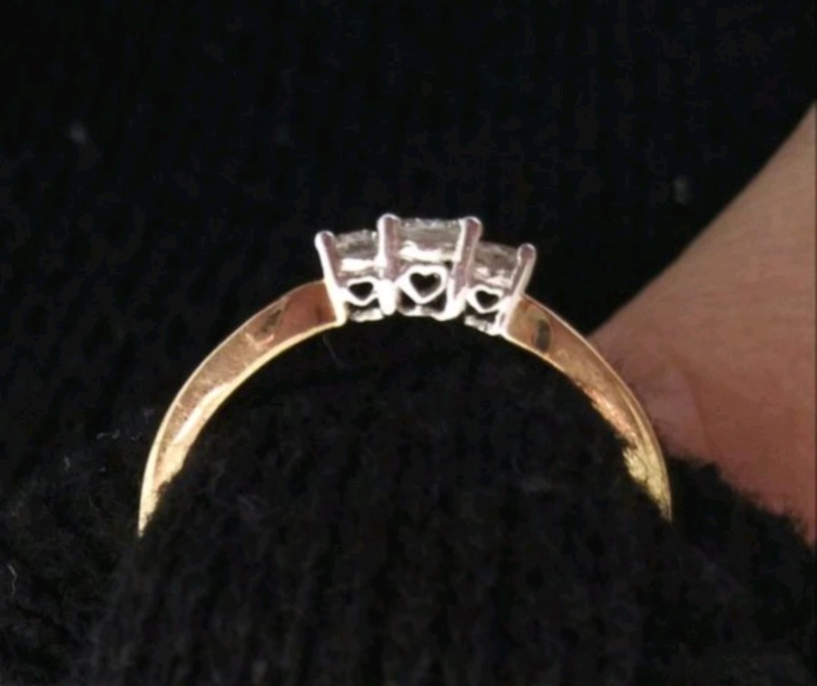 Photo Ring 14kt yellow real gold and Diamonds