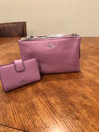 Purple New Coach leather over the shoulder bag with wallet Thurmont, 21788