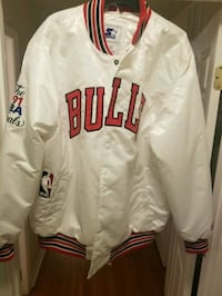 white and red Chicago Bulls zip-up jacket Frederick, 21702