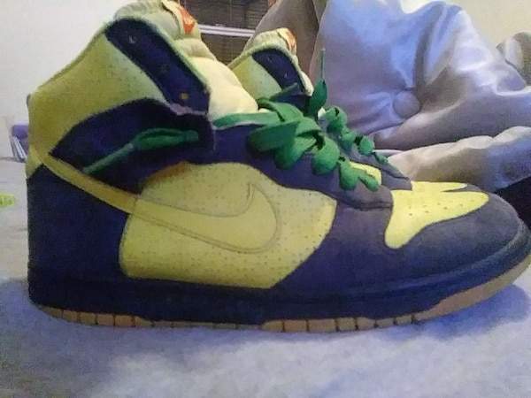 b4fd488ecab7 Used blue-green-yellow Nike basketball shoes for sale in Fall River ...