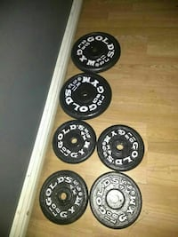 black-and-white Gold's Gym weight plates Pomona, 91766