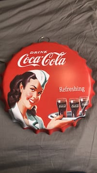 red and white Coca-Cola ceramic plate Kelowna, V4T 1N2