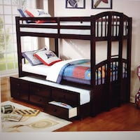 black wooden bunk bed with mattress Houston, 77055