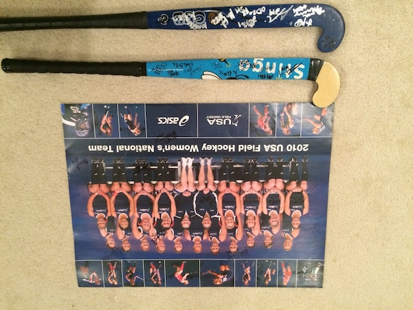 2010 USA Field Hockey Autographed Poster and sticks
