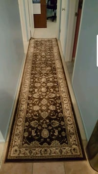 brown and white floral runner rug Warren, 48093