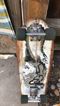 brown and white skateboard