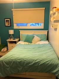 Double wood bed frame. Good condition.
