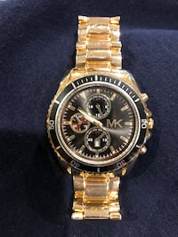 round silver chronograph watch with link bracelet Coram, 11727