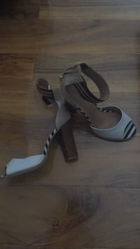 Pair of brown-black-and-white leather open-toe chunky heeled pumps Dartford, DA1 4PG