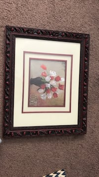white and red tulips in vase still life painting Lubbock, 79411