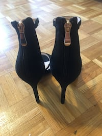pair of black open-toe ankle strap heels Mississauga, L5A 4A5
