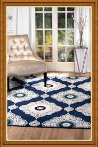 Brand new modern design rug size 5x7 nice navy blue and white carpet Burke
