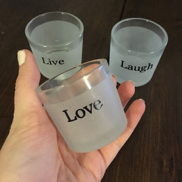 Love Live and Laugh frosted tea light candle jars