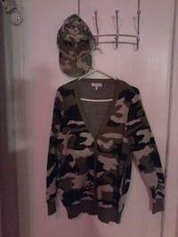 CAMO PRINT BUTTONED SWEATER WITH POCKETS, SM Pickering, L1W 2K1