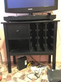 "Black Wine Side Table / TV Stand: 31 3/4""W x 32""H x 13 1/2""D New York, 11225"