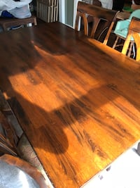 Brown wooden rectangle  dining set table chairs