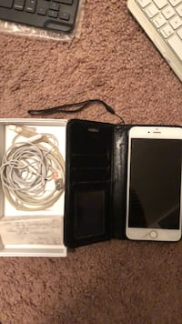 Rose gold iphone 6 plus with black case old cord orig. Box Hyattsville, 20784