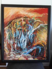 Framed abstractive original oil painting Colorful Fall 科奎特兰