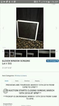 Window screens 31 3/4 X 30