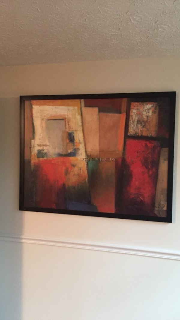 red black brown and white abstract painting