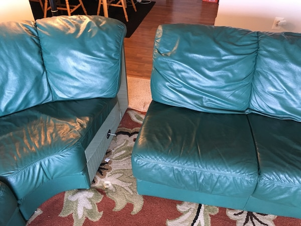 4-section Green couch. Willing to negotiate  281faa07-ca8d-4dc3-a563-0fa7875baf8d
