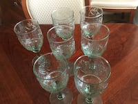 Glasses with fruit motif . Light green . Very nice for juices . Oakville, L6H