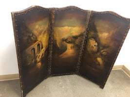 Antique 3 panel screen oil painting
