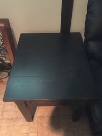Black distressed end tables (2) and matching coffee table with storage Peabody, 01960