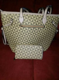 white and gray monogrammed Michael Kors leather tote bag Stockton, 95205