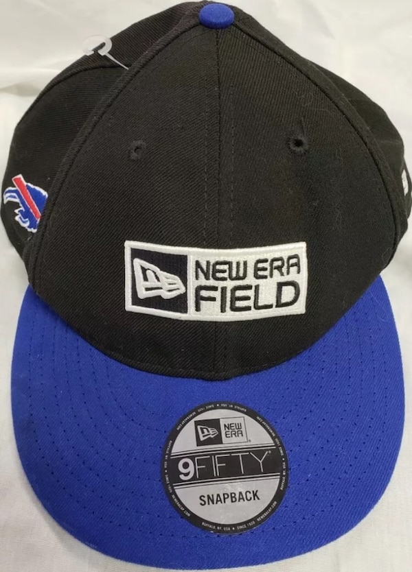 blue and black New Era Field fitted cap