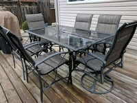 rectang glass top table with six chairs patio set Toronto, M6G