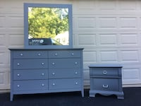 Large 8 Drawer Long Dresser With Mirror And Nightstand Gray With White Handles  Manassas, 20112