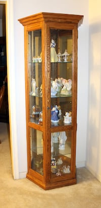 brown wooden framed glass display cabinet WOODBRIDGE
