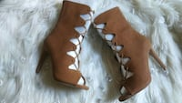 brown leather open-toe ankle strap heeled sandals