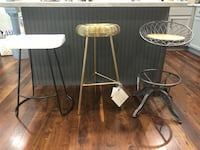 """$25 EACH- Quirky fun single barstools.  1.) Gold style modern barstool- bar height. 30"""" tall.  2.)Metal and wood swivel barstool- counter height- 26.5"""" tall. 3.)white wood and metal barstool- counter height 24.75"""" tall.   Bourbonnais, 60914"""