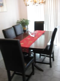 Antique Rosewood Table with 5 leather chairs Mississauga