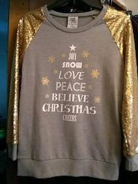 New Woman's Christmas Grey/Gold Sweat Shirt Grand Rapids