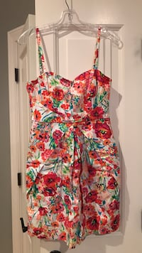 red, blue and green floral spaghetti mini dress