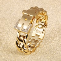 Open gold plated bracelet and finger ring Montreal