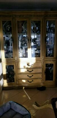 brown wooden framed glass display cabinet Union City, 07087