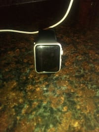 silver aluminum case Apple Watch with black sport band Brooklyn, 11212