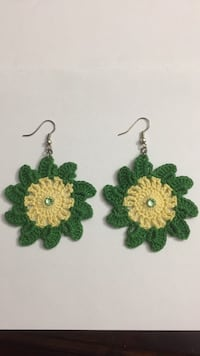 Crochet earrings with crystal gem 100% cotton brand new never worn.