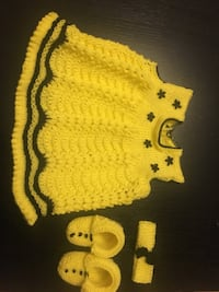 Hand knit sweater dress head band booties set gift packing available on request taking orders for different sizes
