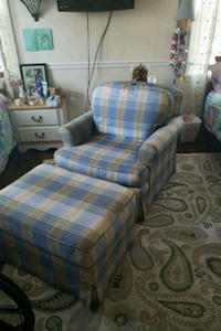 blue and white plaid fabric chair Bel Air, 21014