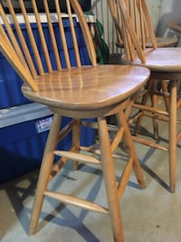 3 wooden high top stools with backs Falmouth, 02536
